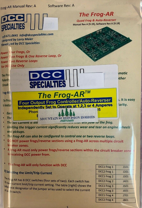 DCC Specialties FROG-AR Quad Output Frog Auto-Reverse and Reverse Loops