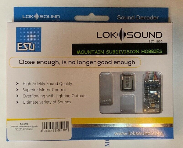 ESU 58410 LokSound 5 DCC/MM/SX/M4 NEM652 8 Pin Sound Decoder & 11x15mm Speaker