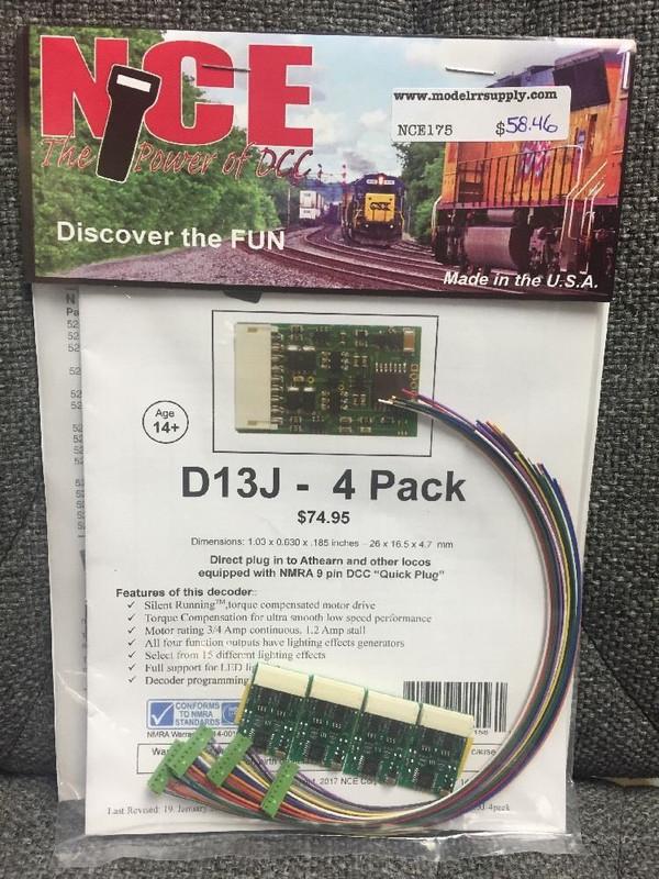 NCE 175 D13J 4-pk DECODERS Quick-Plug (was NCE 125 D13SRJ)