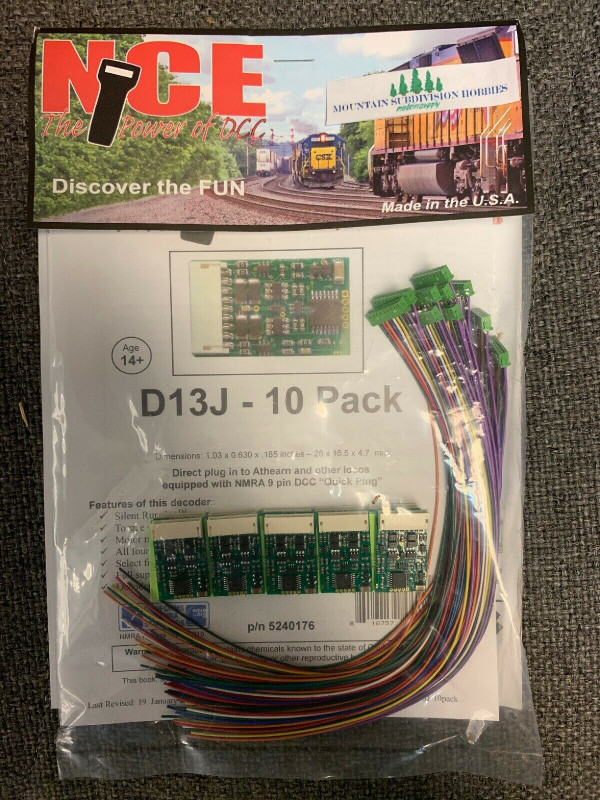 NCE 176 10PK D13J-10 DECODERS NMRA 9-Pin NEW (Replaced D13SRJ 145)