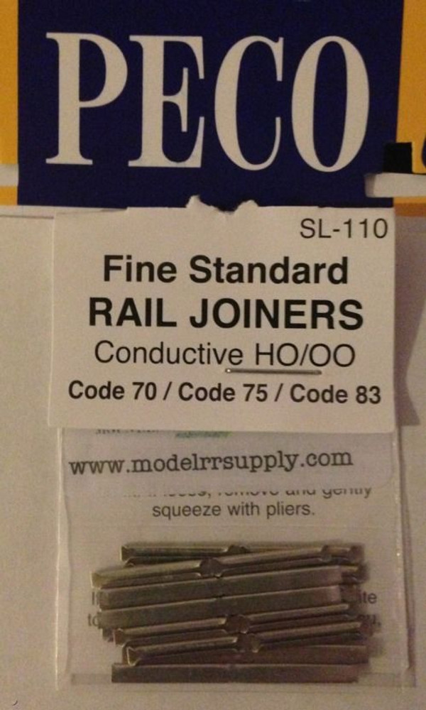 PECO SL-110 HO Rail Joiners - metal - code 70/75/83 pk/24