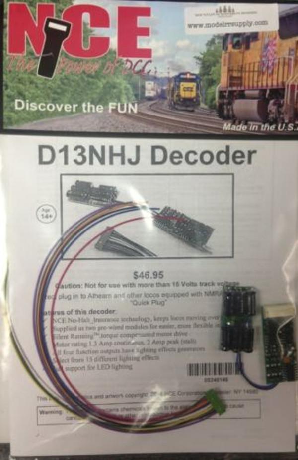 NCE 146 D13NHJ HO DECODER No-Halt Quick-Plug NMRA 9-Pin