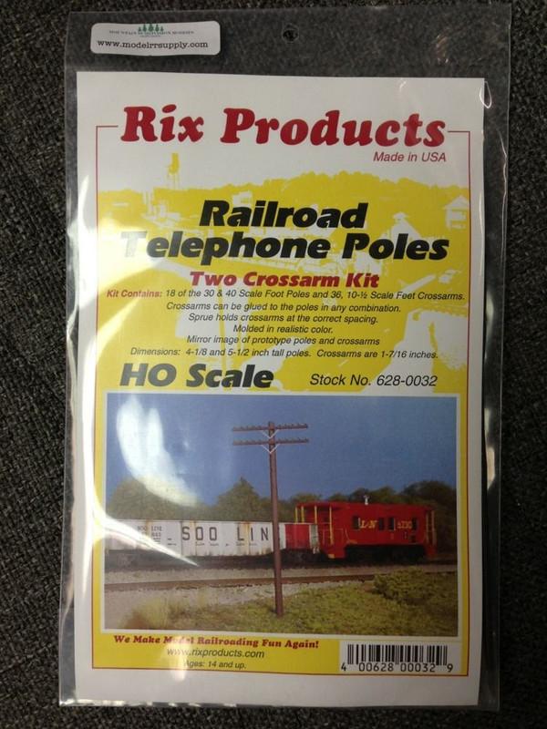 RIX 32 HO Railroad Telephone Poles - Two Crossarm Kit