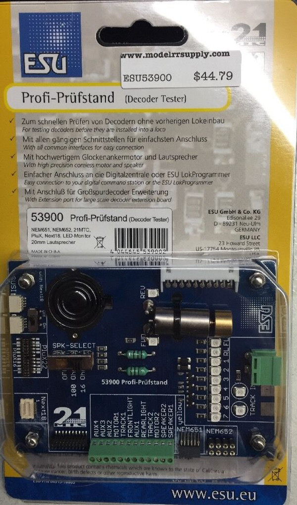 ESU 53900 DCC Decoder Tester with motor speaker LED's - NEW!!