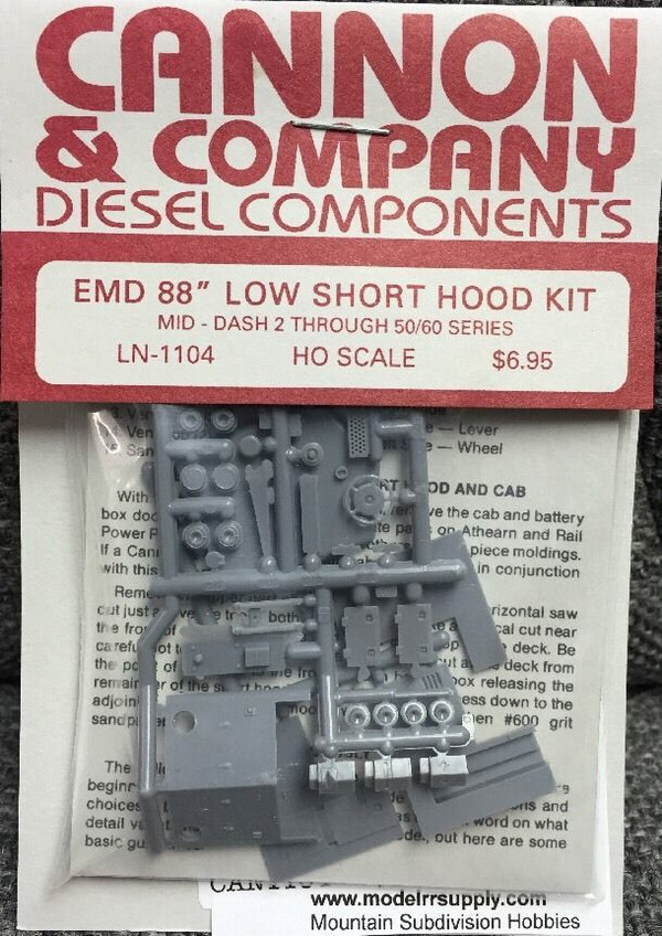"Cannon & Co 1104 EMD 88"" Short Hood Kit Post 1977, GP60 SD70 (Kit)"