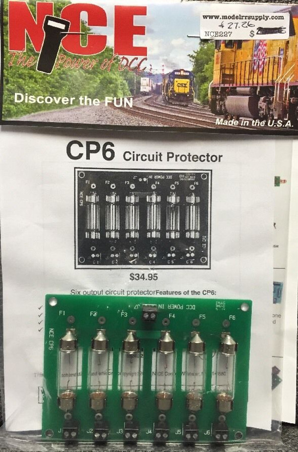 NCE 227 CP6 DCC Circuit Protector with bulbs 6 Zone for PowerCab