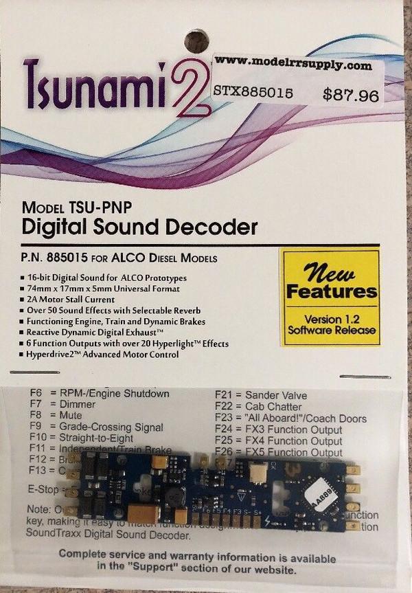 SOUNDTRAXX 885015 Tsunami2 TSU-PNP ALCO Diesel Locomotives Sound Decoder - NEW Version 1.2