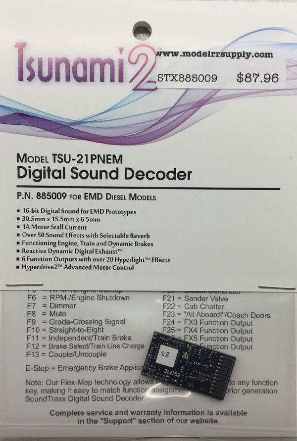 SOUNDTRAXX 885009 Tsunami2 TSU-21P NEM EMD Diesel Locomotives Sound Decoder