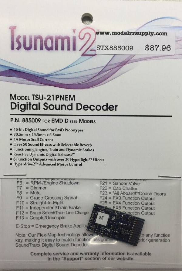 SOUNDTRAXX 885010 Tsunami2 TSU-21P NEM GE Diesel Locomotives Sound Decoder