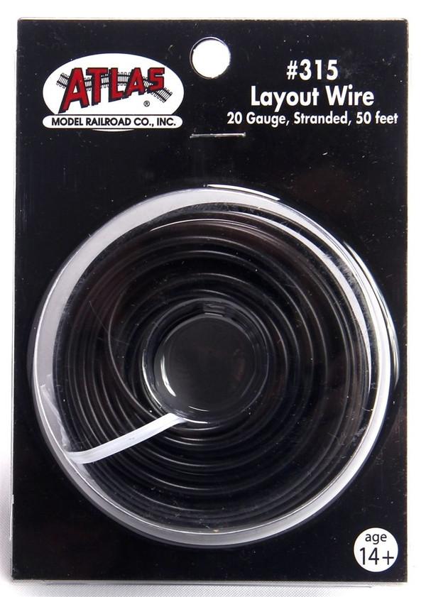 Atlas 315 Layout Wire 20 Gauge 50 Feet Stranded Copper #20 BLACK