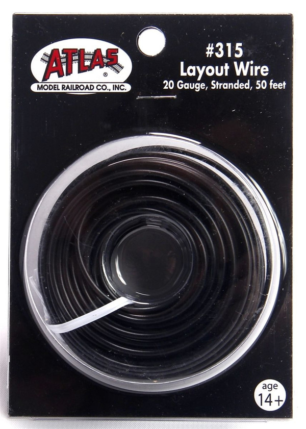Atlas 315 Layout Wire 20 Gauge 50 Feet Stranded Copper #20 BLACK