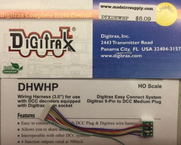 "DIGITRAX DHWHP 9 pin to DCC medium plug long harness (3"")"