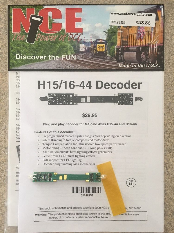 NCE 159 Decoder Atlas N Scale decoder for Atlas H15-44 and H16-44