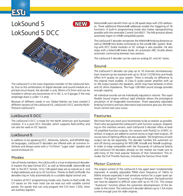 ESU 58420 Loksound 5 DCC 8 Pin NEM652 (NMRA 8 Pin)