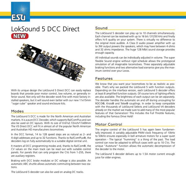 ESU 58821 Loksound 5 DCC Direct (Atlas style board)