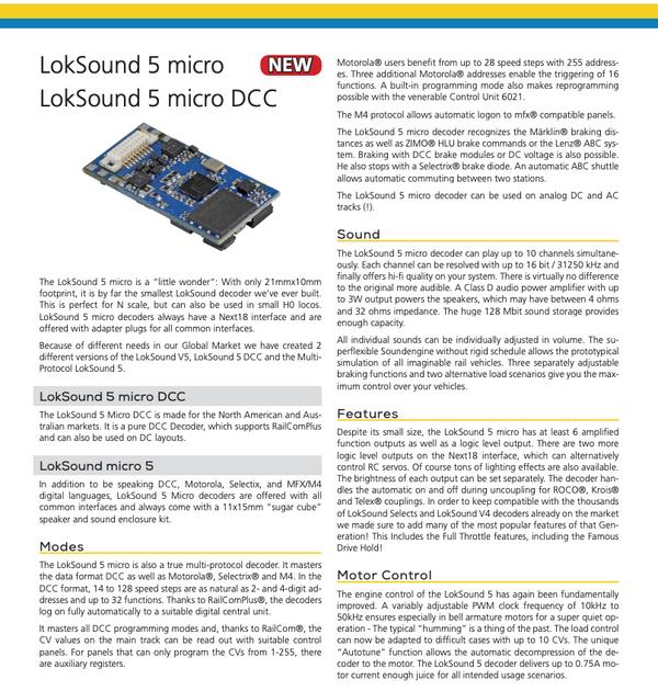 ESU 58820 Loksound 5 DCC Micro 8 Pin (NMRA 8 pin)