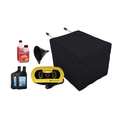 DEK Universal Generator Accessory Kit 2 includes: a universal generator cover, a 15 ft. 240V UL approved extension cord, 30 AMP (8,000 watt) cord, four (4) GFCI - 120V outlets.  SAE-10W30 motor oil, 1 ounce of fuel stabilizer & funnel.