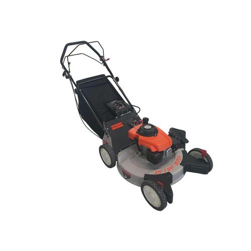 26 in. 208 cc Gas Walk Behind 3-in-1 Wide Area Self Propelled Lawn Mower, Rear Wheel Drive with Blade Brake Clutch