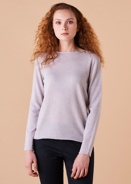 Phoebe Top - Oyster (front)