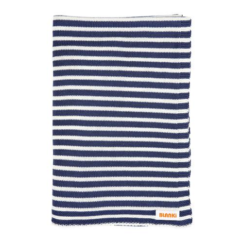 Blanki line them up blanket - Indigo - Folded