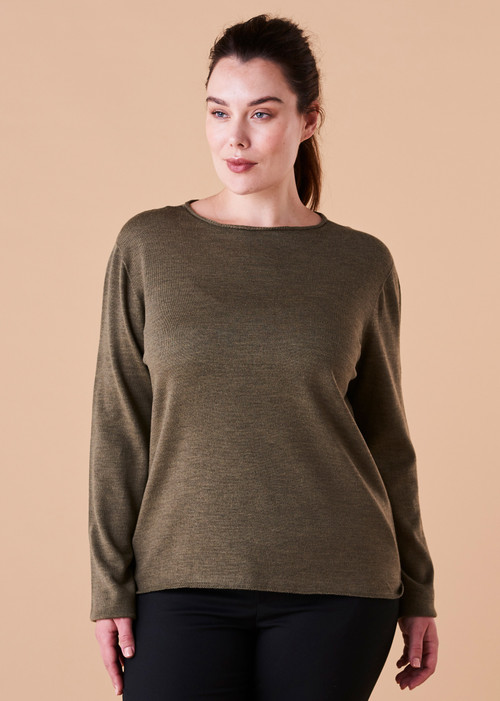 Phoebe Top - Olive (front)