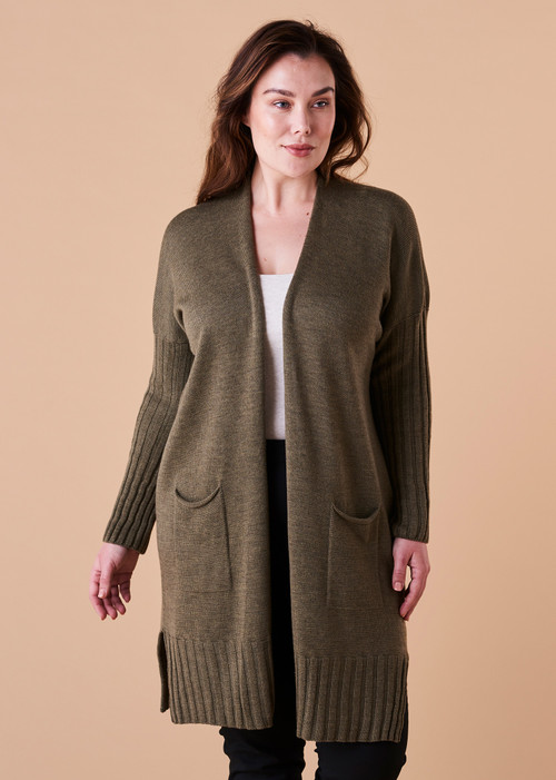 Quinn Cardigan - Olive (front)