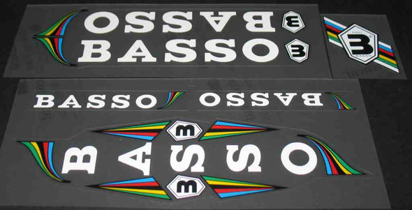 Basso Classic Bicycle Decal Set - White Letters