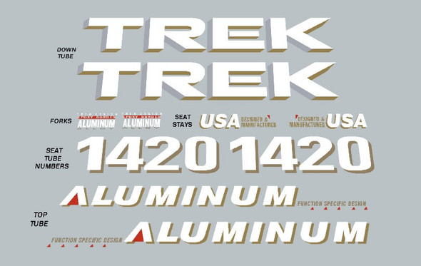 Trek 1420 Aluminum Decal Set