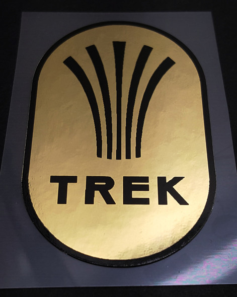 Trek 1980s Head Badge Decal in MIrror Gold or Chrome