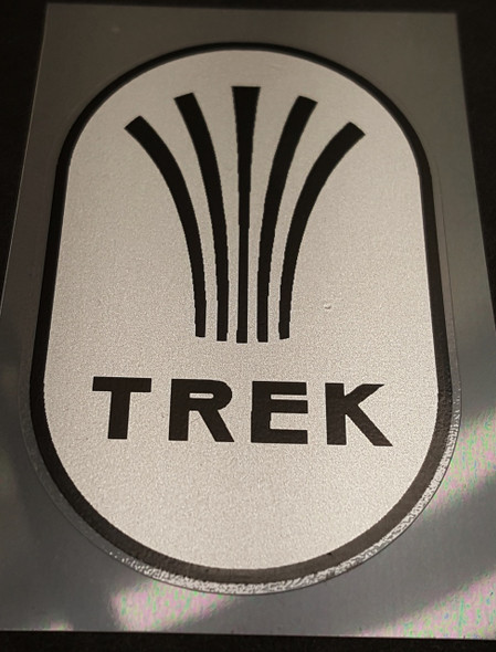 Trek 1980s Head Badge Decal in Metallic Gold or Silver - Choose Size
