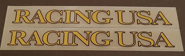 Racing USA Top Tube Decals - 1 Pair - Gold/Black Outline