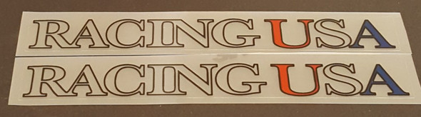 Racing USA Top Tube Decals - 1 Pair - Clear/Red/Blue