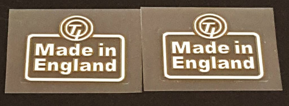 Made in England T.I. Decals -White/Gold/ - 1 Pair