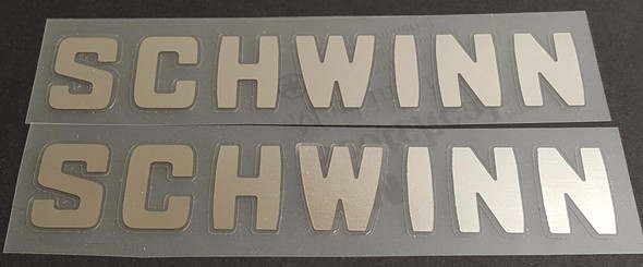 Schwinn Down Tube Decals in Chrome - 1 Pair