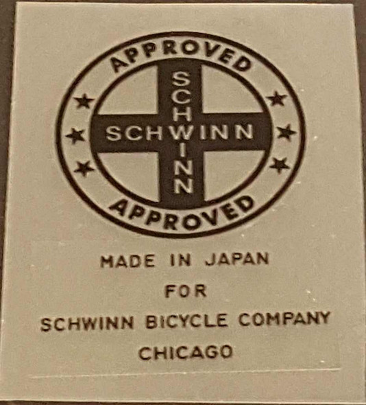 Schwinn Approved/Made in Japan Seat Tube Decal - Choice of Color on Clear