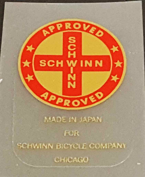 Schwinn Approved/Made in Japan Seat Tube Decal - Red/Gold