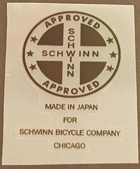 Schwinn Seat Tube  Decal - Choice of Color on Clear