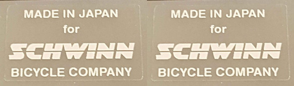 Schwinn Manufacturing Decals - 1 Pair - Choice of Color on Clear