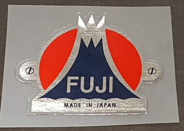 Fuji Head Badge Decal with Chrome Background & Simulated Screw Mounts