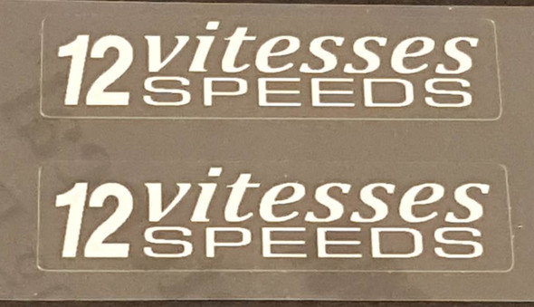 Peugeot 12 Vitesses Stay Decals  - White - 1 Pair