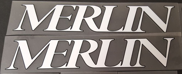 Merlin 1992 Down Tube Decals - 1 Pair White/Black Outline