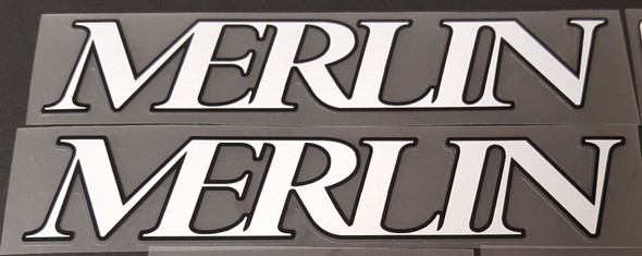 Merlin 1992 Down Tube Decals - 1 Pair White w/Heavy Black Outline