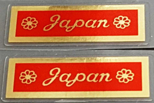 Made in Japan Decal - Mirror Gold on Red - 1 Pair