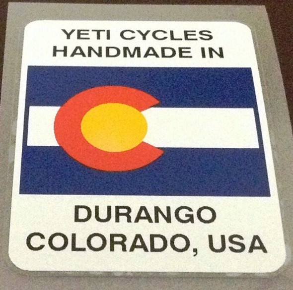 Yeti Cycles Handmade in Durango Decal