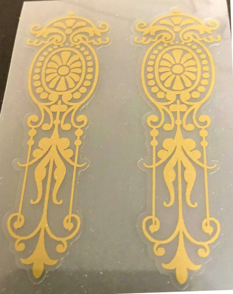 Decorative Filigree Decals in Gold or Silver Metallic - 1 Pair