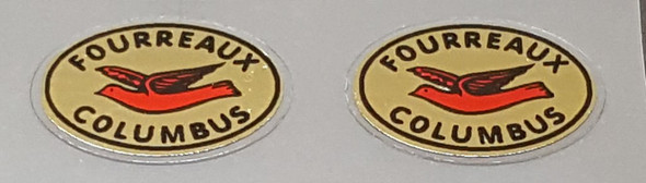 Columbus Fork Tubing Decals - 1 Pair - Red on Mirror Gold