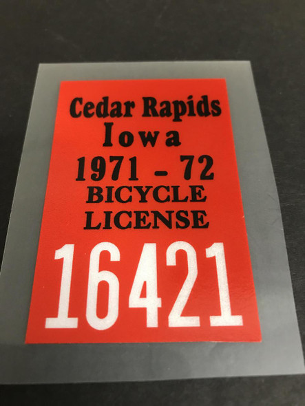 Cedar Rapids Iowa License Decal