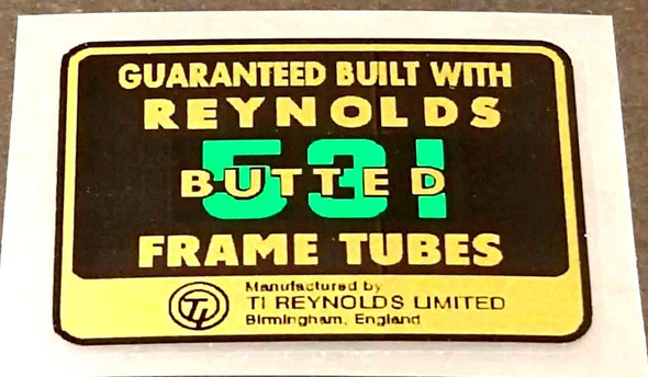 Reynolds 531 Butted Frame Decal - Green