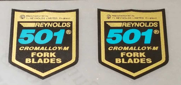 Reynolds 501 Cromalloy-M Fork Tubing Decals - Blue