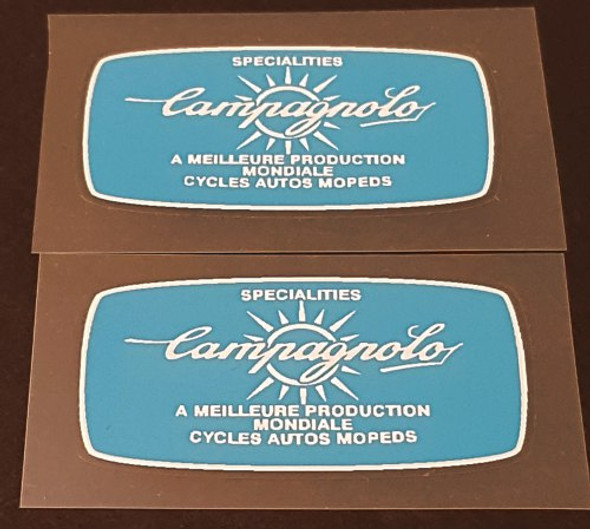 Campagnolo Tubing Decals - 1 Pair - White on Blue